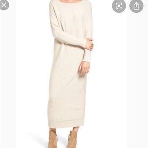 hinge light brown Vback sweater maxi dress size M